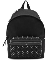 Saint Laurent Black Canvas Studded City Backpack