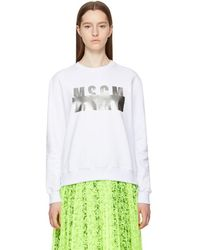 MSGM - White Stamped Logo Sweatshirt - Lyst