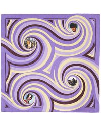 Raf Simons Foulard Spiral mauve en soie à imprimé - Violet