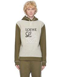 Loewe カーキ & オフホワイト アナグラム フーディ - ナチュラル
