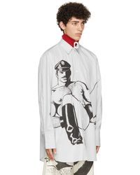 JW Anderson Tom Of Finland コレクション ホワイト & ブラック ストライプ オーバーサイズ シャツ