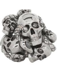 Alexander McQueen Bague gris acier Multi Skull and Snake - Multicolore