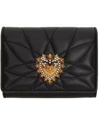 Dolce & Gabbana ブラック スモール Devotion トライフォールド ウォレット