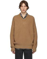 Nanushka - Tan Vince V-neck Sweater - Lyst