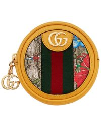 Gucci Yellow And Multicolour Mini Round Ophidia Bag