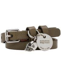 Alexander McQueen - Green And Silver Double Wrap Bracelet - Lyst