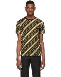 Fendi T-shirt brun et noir All Over Forever