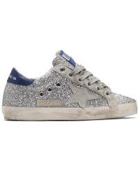 Golden Goose Deluxe Brand Baskets argentees et grises Superstar - Métallisé