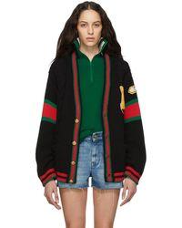 Gucci Black Oversized Varsity Cardigan