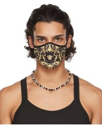 Versace Black V-barocco Face Mask