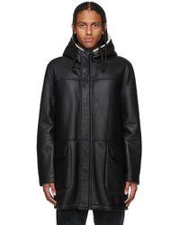 Yves Salomon ブラック シアリング コート
