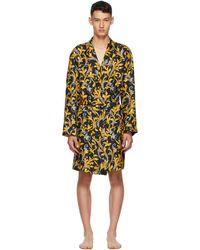 Versace Robe de chambre noire et doree Barocco - Jaune