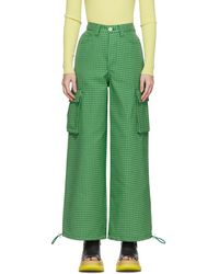 Sunnei Green Houndstooth Cargo Trousers