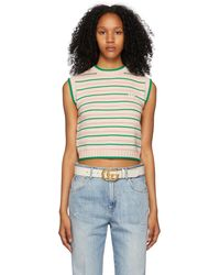 Gucci Pink & Green Striped GG Patch Vest - Blue