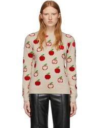 Gucci - オフホワイト ジャカード GG アップル セーター - Lyst