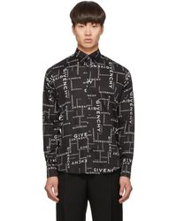 Givenchy Black And White All Over Logo Shirt