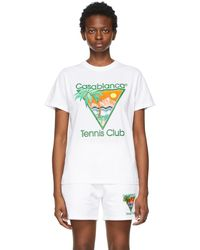 CASABLANCA ホワイト Tennis Club T シャツ
