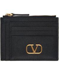 Valentino Garavani Porte-cartes noir V-Logo Double