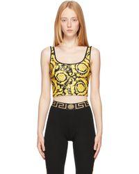 Versace Black Barocco Print Bikini Tank Top