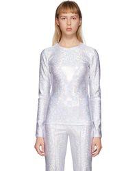 Saks Potts White Saya Shimmer Top - Metallic