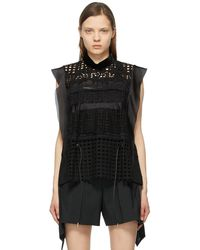 Sacai Star Embroidered Blouse - Black