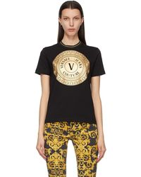 Versace Jeans Couture ブラック & ゴールド V Emblem T シャツ
