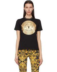 Versace Jeans Couture - ブラック & ゴールド V Emblem T シャツ - Lyst