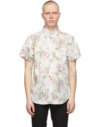 Naked & Famous Chemise à manches courtes blanche flower painting easy
