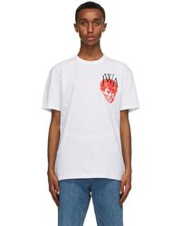 JW Anderson ホワイト Embroidered Face Jwa T シャツ