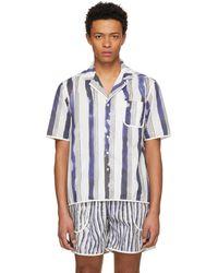 Daniel W. Fletcher   White And Blue Bold Stripe Pyjama Shirt   Lyst
