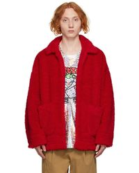 Doublet Sherpa 'painted' Coat - Red