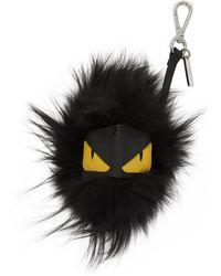 Fendi - Black Fur Bag Bugs Keychain - Lyst