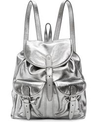 Saint Laurent Silver Leather Venice Backpack - Metallic