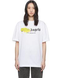 Palm Angels - ホワイト And イエロー Los Angeles スプレー T シャツ - Lyst