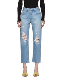 Levi's Blue 501 Original Cropped Ripped Jeans