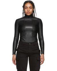 Alexander Wang Black Pleather Turtleneck Bodysuit