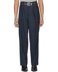 Maison Margiela - Blue Wool Pleated Trousers - Lyst