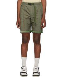 John Elliott Khaki High Shrunk Nylon Mountain Shorts - Green