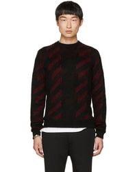 Saint Laurent - Black & Red Striped Crewneck Sweater - Lyst