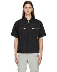 HELIOT EMIL Black Layered Short Sleeve Shirt
