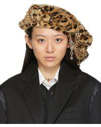 Junya Watanabe Leopard Faux-fur Hat - Natural
