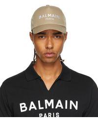 Balmain ベージュ ロゴ キャップ - ブラック