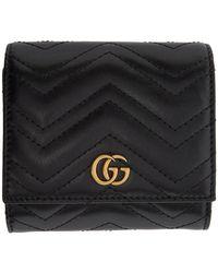 Gucci Calfskin Matelasse GG Marmont Card Case Black