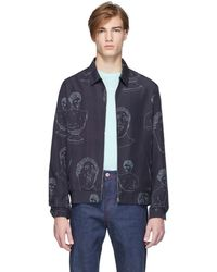 Band of Outsiders Navy Marbles Summer Bomber Jacket - Blue