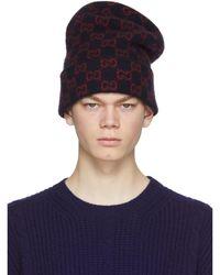Gucci - Bonnet en laine bleu marine GG - Lyst