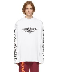 Vetements T-shirt à manches longues Gothic blanc à logo