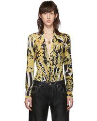Versace Black And Yellow Heritage Stamp Deep-v Bodysuit