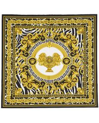Versace Off-white And Black Baroque Scarf - Multicolor