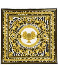 Versace Off-white And Black Baroque Scarf - Multicolour
