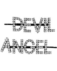 Ashley Williams Ssense Exclusive Black And Transparent Angel/devil Hair Clips
